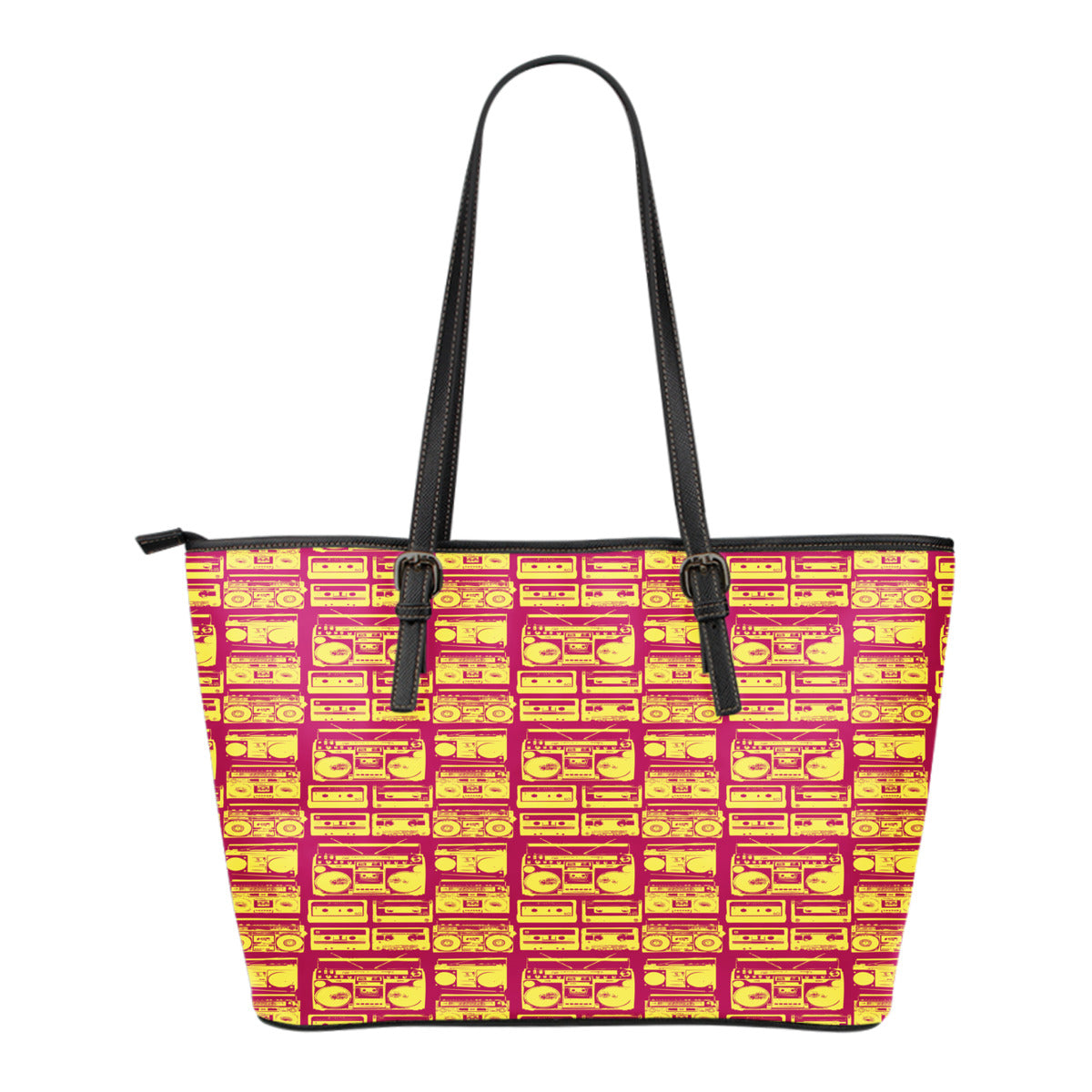 80s Boombox Themed Design C9 Women Small Leather Tote Bag