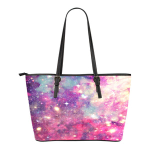 Pastel Galaxy Themed Design C4 Women Small Leather Tote Bag