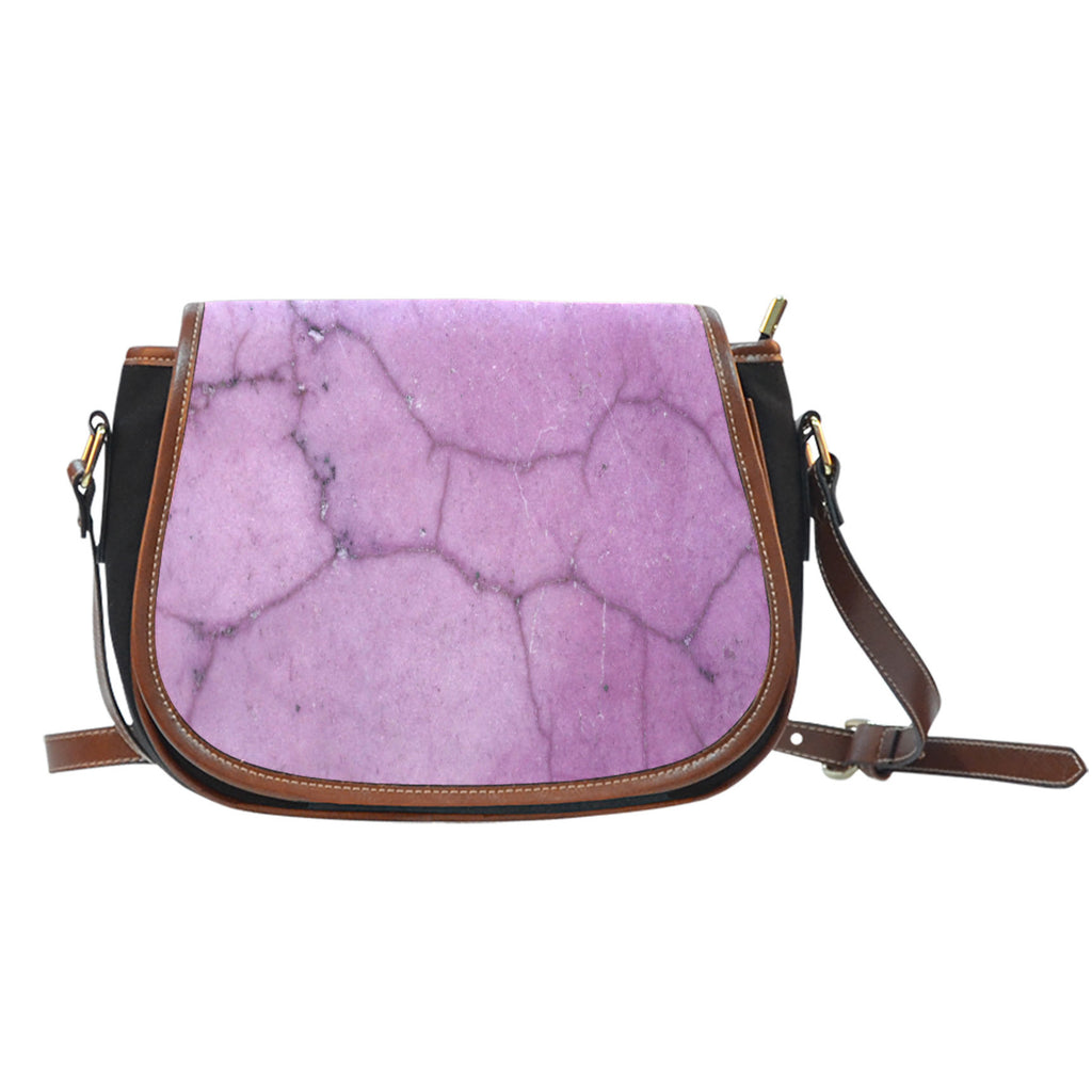Marble Themed Design 05 Crossbody Shoulder Canvas Leather Saddle Bag