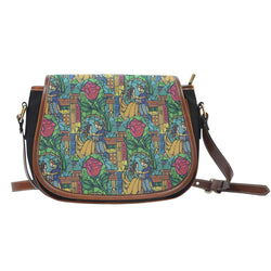 Beauty And Beast Stained Glass Crossbody Shoulder Canvas Leather Saddle Bag