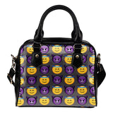 Fun Emojis Good vs Bad Theme Women Fashion Shoulder Handbag Black Vegan Faux Leather - STUDIO 11 COUTURE