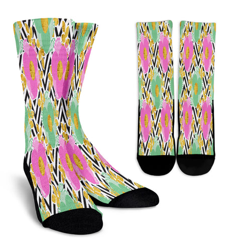 Black and White Zigzag Floral Spring Crew Socks