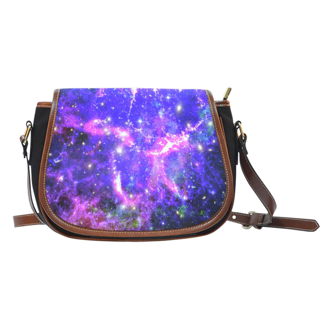 Galaxy 3 Crossbody Shoulder Canvas Leather Saddle Bag - STUDIO 11 COUTURE