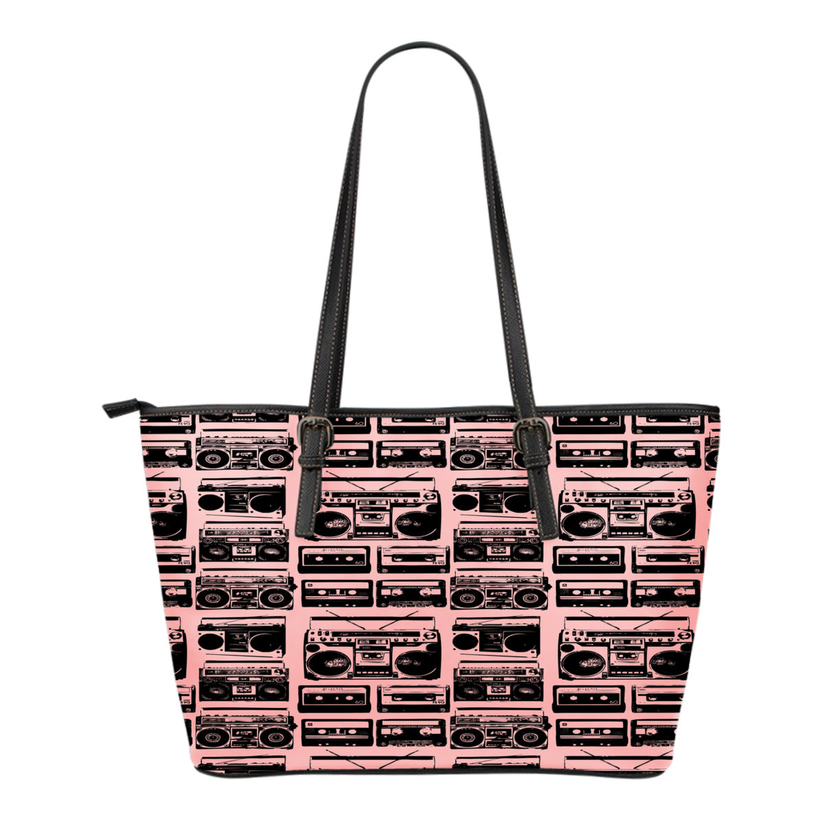 80s Boombox Themed Design C6 Women Small Leather Tote Bag