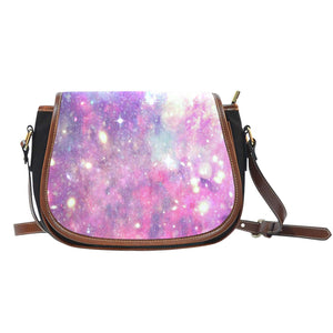 Galaxy Pastel 2 Crossbody Shoulder Canvas Leather Saddle Bag - STUDIO 11 COUTURE