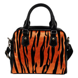Animal Prints Tiger StripesTheme Women Fashion Shoulder Handbag Black Vegan Faux Leather