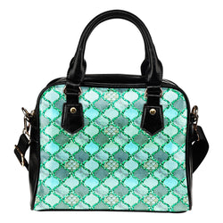 Summer Mermaid Themed Design B5 Women Fashion Shoulder Handbag Black Vegan Faux Leather
