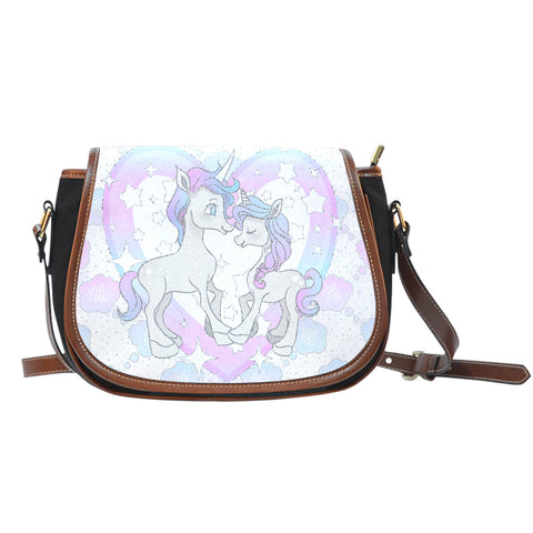 Unicorn In Love Crossbody Shoulder Canvas Leather Saddle Bag - STUDIO 11 COUTURE