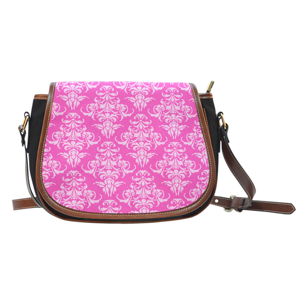 Ballerina Rose (A7) Crossbody Shoulder Canvas Leather Saddle Bag