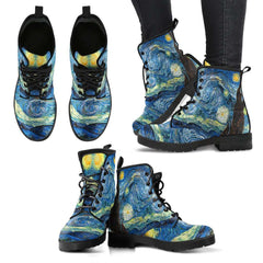 Vincent Van Gogh Starry Night Womens Leather Boots - STUDIO 11 COUTURE