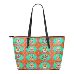 Woodland Themed Design C10 Women Small Leather Tote Bag