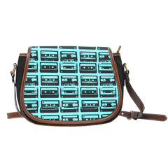 80s Boombox (A3) Crossbody Shoulder Canvas Leather Saddle Bag