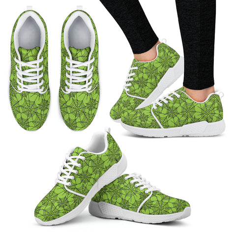 Green Spider Web Halloween Women Athletic Sneakers - STUDIO 11 COUTURE