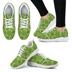 Green Spider Web Halloween Women Athletic Sneakers