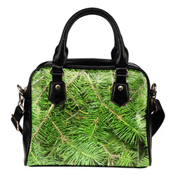 Nature Themed Design B12 Women Fashion Shoulder Handbag Black Vegan Faux Leather