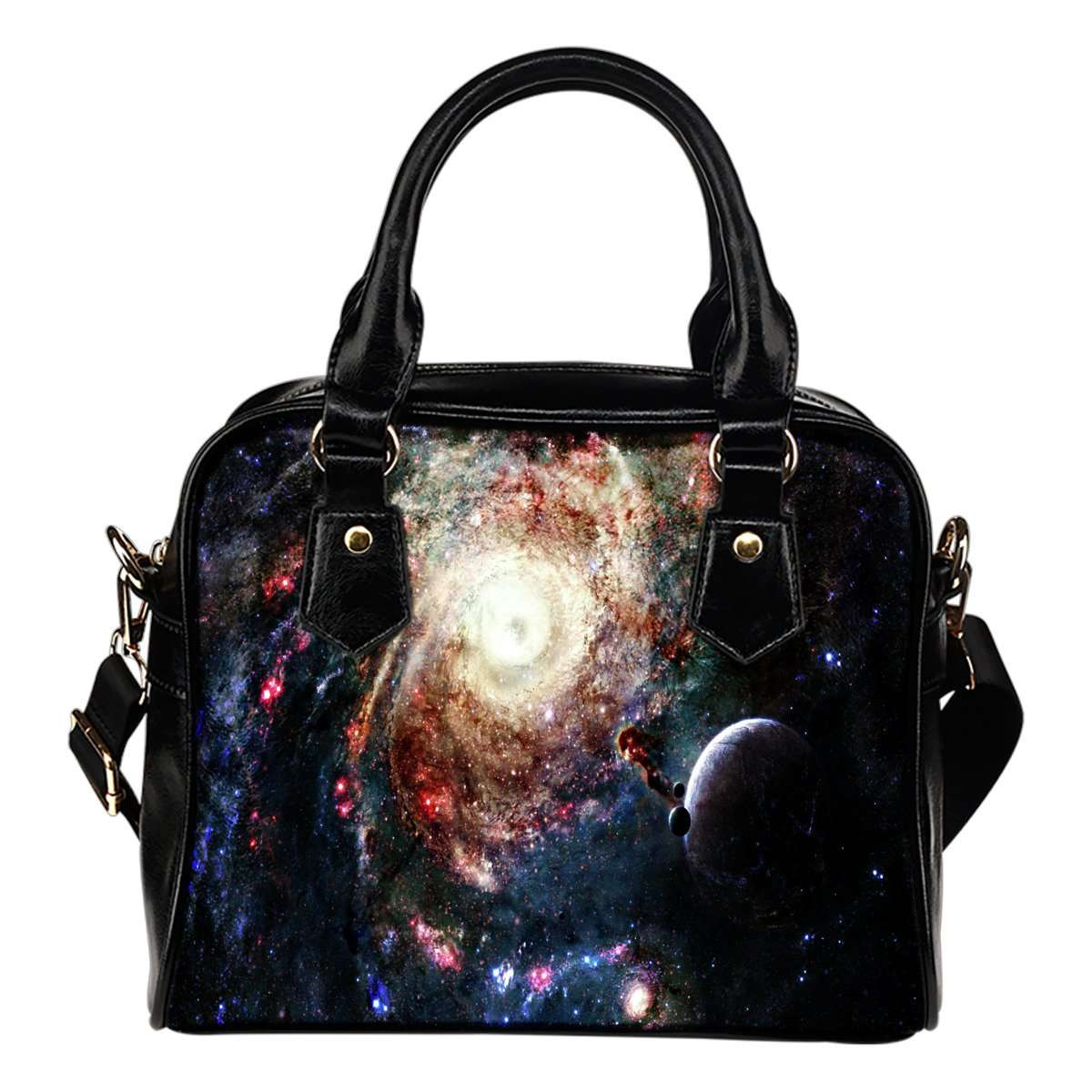 Galaxy #8 Theme Women Fashion Shoulder Handbag Black Vegan Faux Leather - STUDIO 11 COUTURE