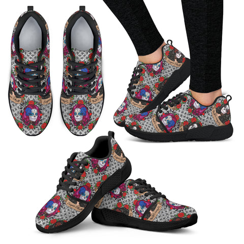 Sugar Skull Gothic Halloween Women Athletic Sneakers