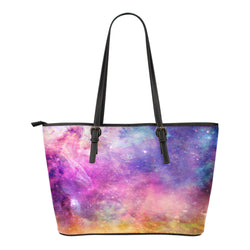 Pastel Galaxy Themed Design C3 Women Small Leather Tote Bag