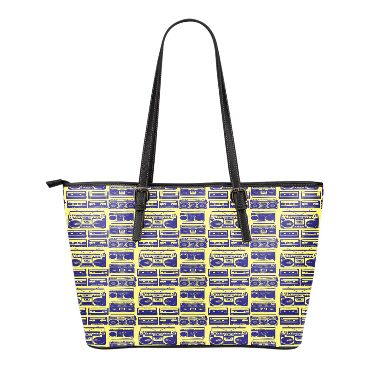 80s Boombox Themed Design C10 Women Small Leather Tote Bag