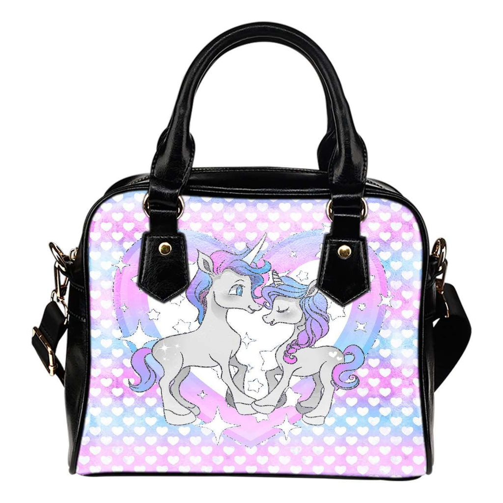 Unicorn Hombre Heart Theme Women Fashion Shoulder Handbag Black Vegan Faux Leather - STUDIO 11 COUTURE