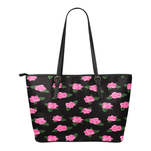 Ballerina Rose Themed Design C4 Women Large Leather Tote Bag