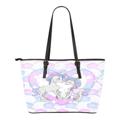 Unicorn Themed Design C12 Women Small Leather Tote Bag
