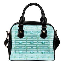 Summer Mermaid Themed Design B12 Women Fashion Shoulder Handbag Black Vegan Faux Leather