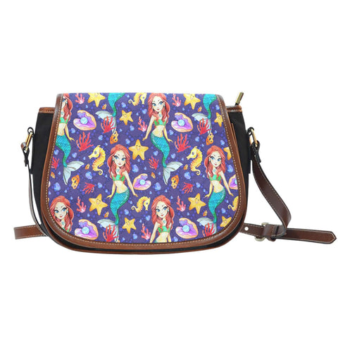 Mermaids Siren Under The Sea Leather Saddle Bag - STUDIO 11 COUTURE