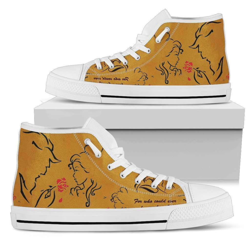 Beauty And The Beast Love Womens High Top Shoes