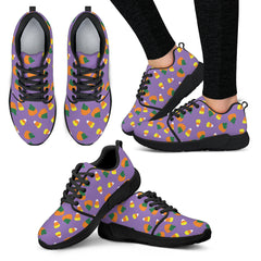 Purple Candy Corn Halloween Women Athletic Sneakers