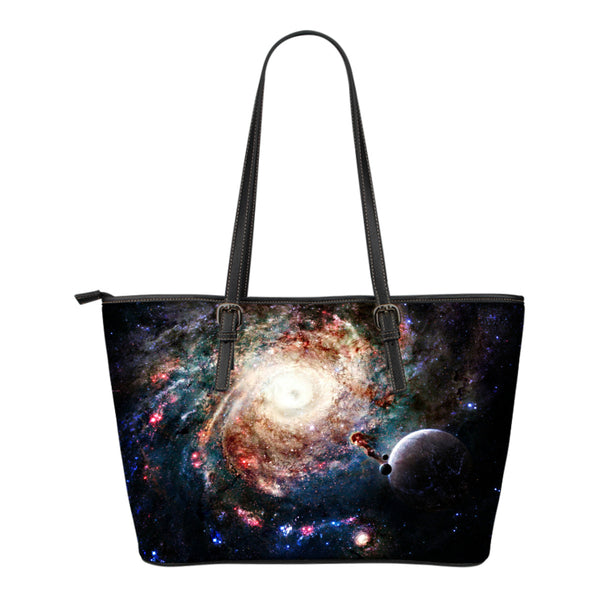 Galaxy Themed Design C8 Women Small Leather Tote Bag