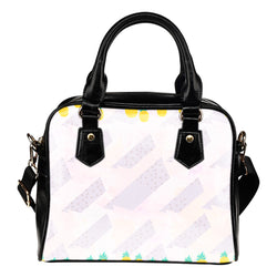 Fruits Themed Design B4 Women Fashion Shoulder Handbag Black Vegan Faux Leather