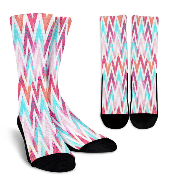 80s Zigzag Fashion Girl Crew Socks