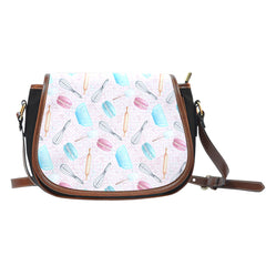 Baking Themed Rolling Pin And Whisk Tool Crossbody Shoulder Canvas Leather Saddle Bag