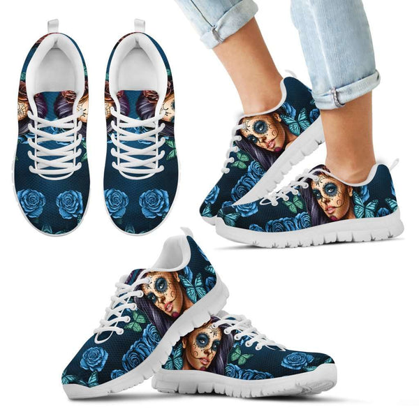 Blue Sugar Skull Girl Kids Sneakers