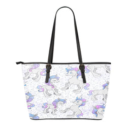 Unicorn Themed Design C5 Women Small Leather Tote Bag