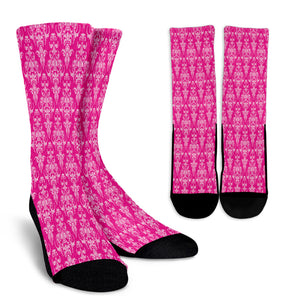 Magenta Damask Crew Socks