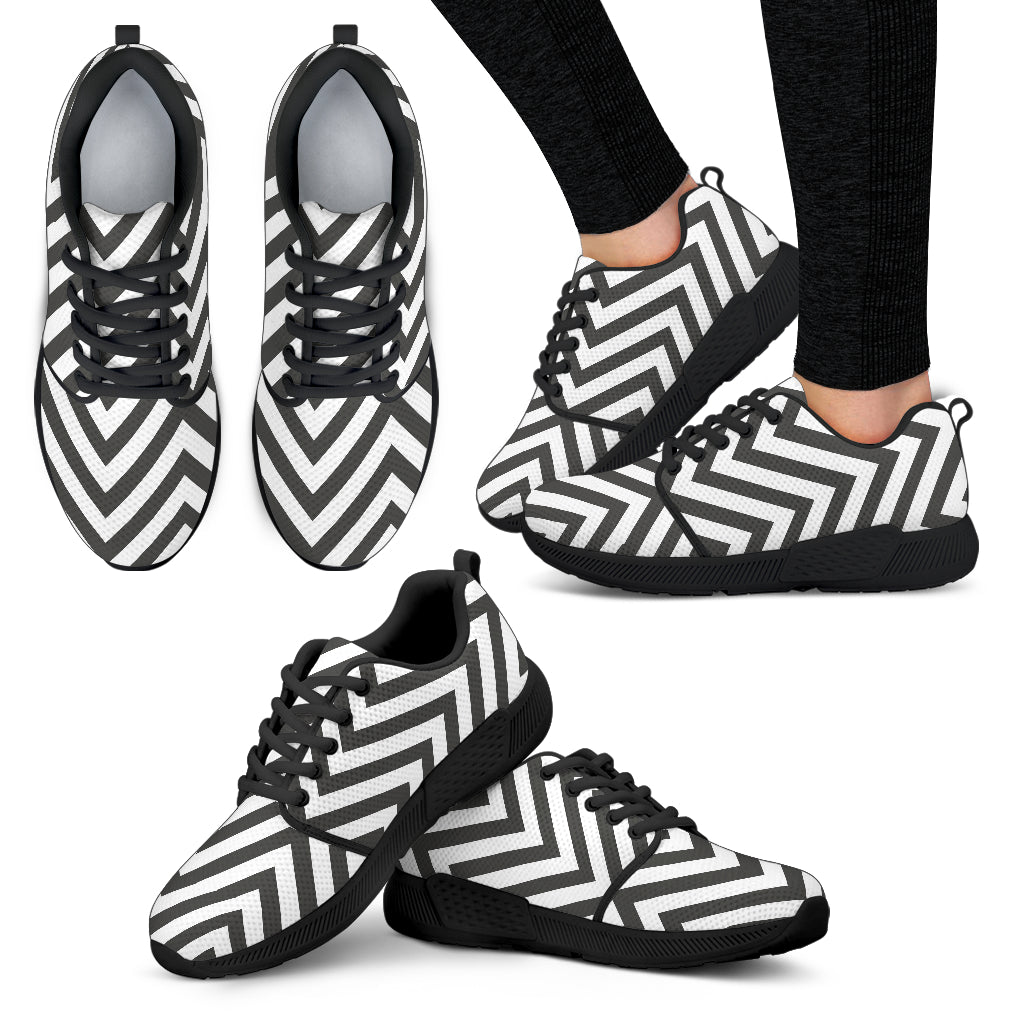 Black and White Zigzag Floral Spring Women Athletic Sneakers