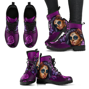 Violet Sugar Skull Girl Womens Leather Boots - STUDIO 11 COUTURE