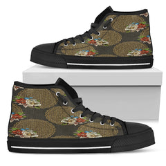 Gold Floral Women High Top Shoes