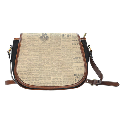 Old Newspaper Themed Design 6 Crossbody Shoulder Canvas Leather Saddle Bag