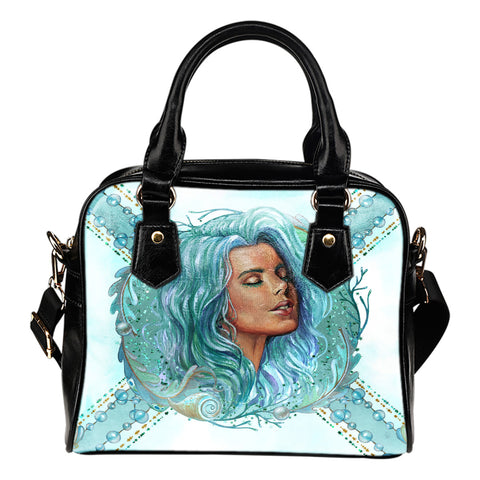 Summer Mermaid Themed Design B3 Women Fashion Shoulder Handbag Black Vegan Faux Leather