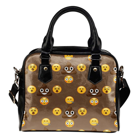 Fun Emojis Poo Theme Women Fashion Shoulder Handbag Black Vegan Faux Leather - STUDIO 11 COUTURE