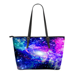 Galaxy Themed Design C2 Women Small Leather Tote Bag