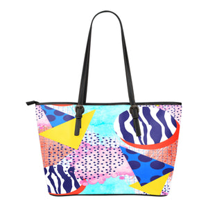 80s Fashion Themed Design C12 Women Small Leather Tote Bag