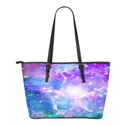 Pastel Galaxy Themed Design C5 Women Small Leather Tote Bag