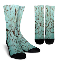 Cracked Dirty Marble Tile Crew Socks