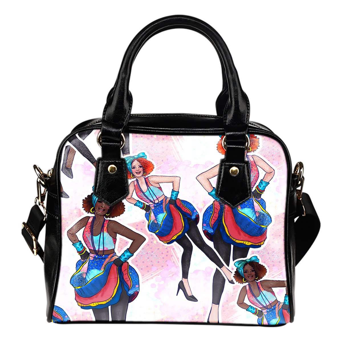 80's Fashion Girls Patterns #4 Fashion Shoulder Handbag w/ Removable Shoulder Straps Made of Vegan Leather - STUDIO 11 COUTURE