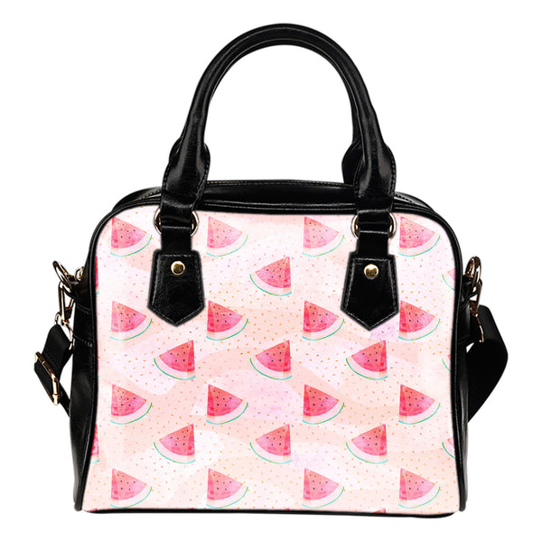 Fruits Themed Design B14 Women Fashion Shoulder Handbag Black Vegan Faux Leather