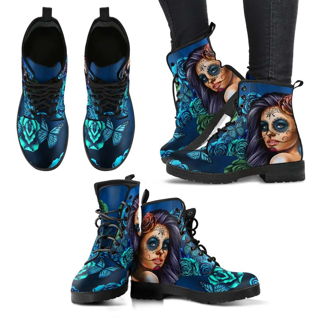 Blue Sugar Skull Girl Womens Leather Boots